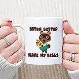 Taza de café para jugador - Better Have My Bells - Tom Animal Villagers Crossing Divertido controlador de consola de videojuegos Regalos para novio, novia, mujer
