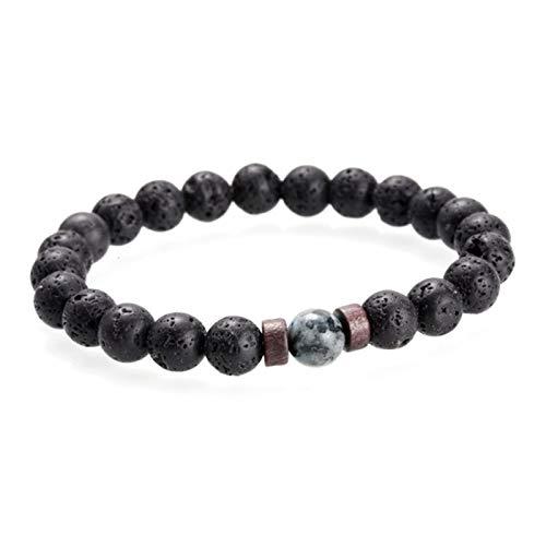 ZNYD Pulsera de los Hombres Moonstone Natural Bead Tibetan Buda Pulsera Lava Stone Difusor Pulseras Hombres Joyería Regalo (Color : G)