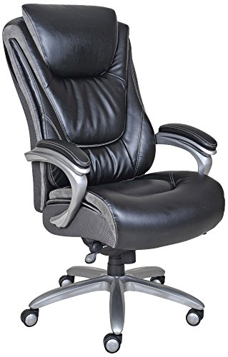 Serta Big and Tall Smart Executive Office ComfortCoils, Ergonomic Computer Chair with Layered Body Pillows, Big & Tall, Black & Grey