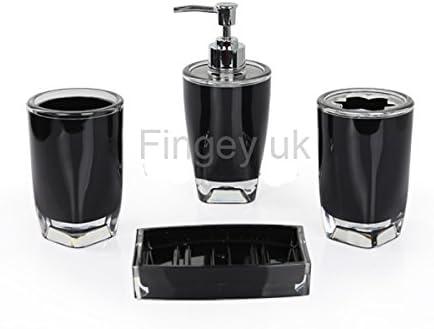 Fingey Modern Design 4 Piece Bathroom Accessory Set Soap Dish Tooth Brush Holder Soap Dispenser Rinse Cup Black Amazon Co Uk Kitchen Home