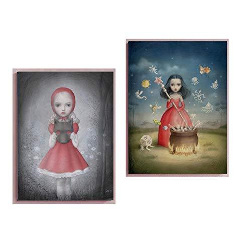 WJWGP Nicoletta Ceccoli MuñEca ExtrañO De La Lona Pintura Hadas Cuento Mundo Pared Arte Cuadros Surrealismo Poster Impresiones Resumen Cuadro 40x60cmx2 No -U8