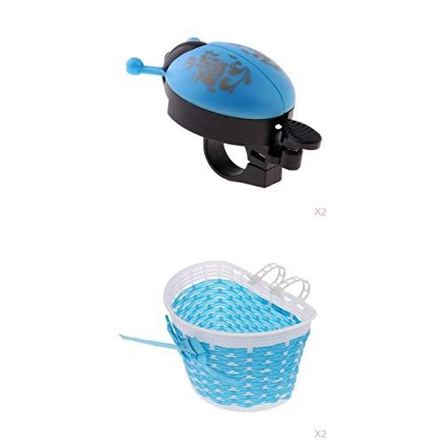 lahomia 2Pcs Bambini Childs Bambini Bicicletta Manubrio Bici Crisp Bell + Basket