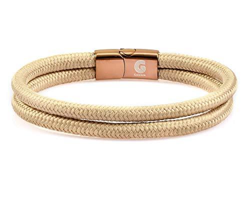 Galeara Noa Sailing Rope Bracelet Braided Nautical with Magnetic Clasp Rope Bracelets Maritime Surfer Bracelet khaki