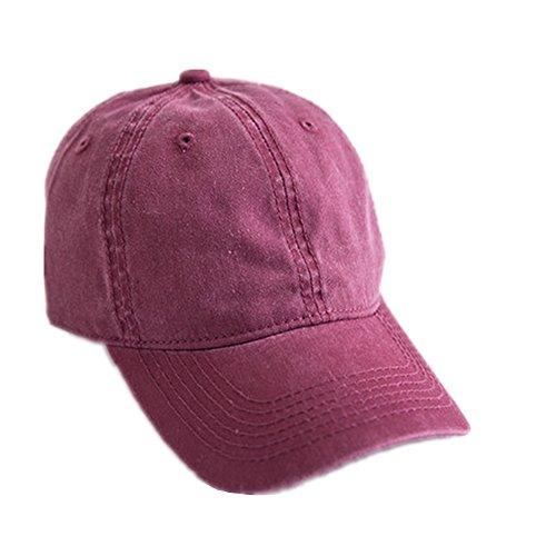 Toruiwa Kappe Damen Baseball Kappe Verstellbar Mütze UV-Schutz Kappen für Herren und Damen Sommer (Weinrot)