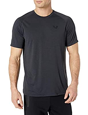 Amazon Brand - Peak Velocity Men's VXE Short Sleeve Quick-dry Loose-Fit T-Shirt, Black Heather, XX-Large