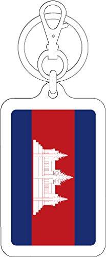 K-SK253 カンボジア CAMBODIA 100円国旗ステッカー キーホルダー (WHITE)