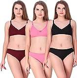 Achiever Women's Cotton Bra Panty Lingerie Set (Multicolor, 34) Combo Pack of 3