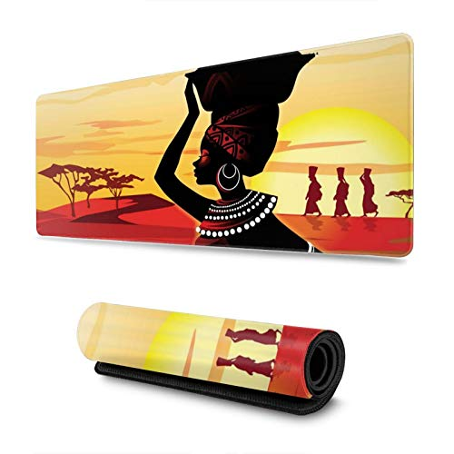 African Women Desert Painting Gaming Mouse Pad, Long Extended XL Mousepad Desk Pad, Large Non Slip Rubber Mice Pads Stitched Edges, 31.5'' X 11.8''