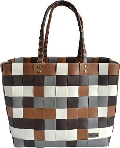 normani® Einkaufstasche Shopper geflochten aus Kunststoff - robuster Strandkorb Vintage Style 38cm x 25cm x 28cm Farbe Classic/Earth