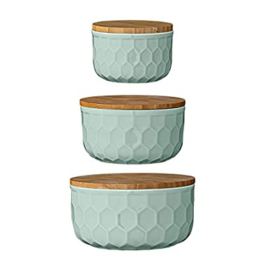 Bloomingville Ceramic Bowl Set with Bamboo Lids, Mint Green