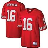 QWRE Camisetas de fútbol americano de los hombres Joe San Francisco NO.16 49ers Montana Mitchell & Ness Legacy Jersey camisas para hombres-rojo