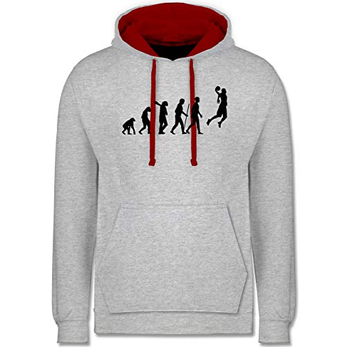 Shirtracer Evolution - Basketball Evolution - XL - Grau meliert/Rot - Basketball Sweatshirt m - JH003 - Hoodie zweifarbig und Kapuzenpullover für Herren und Damen