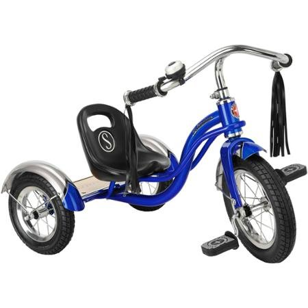 12' Schwinn Roadster Trike, Retro-Styled Classic Tricycle Frame with Low Center of Gravity, Color Blue