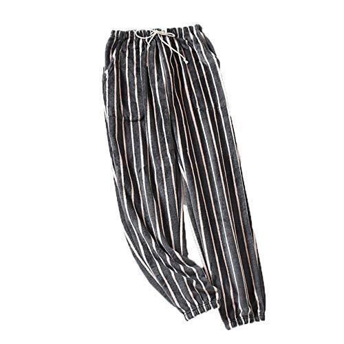 Pijamas De Rayas para Mujer OtoñO E Invierno Pantalones De Lana De Coral Gruesos Pantalones De Franela Sueltos para Hombre Pantalones Caseros con Viga