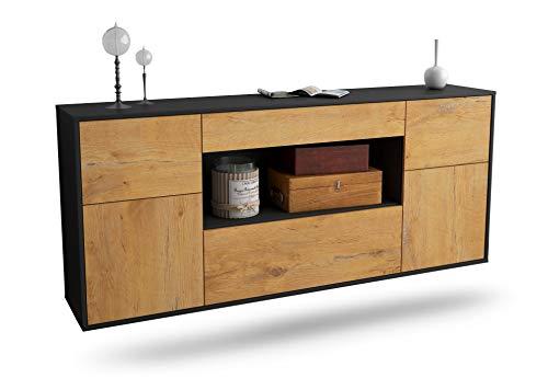 Dekati Sideboard Visalia hängend (180x77x35cm) Korpus anthrazit matt | Front Holz-Design Eiche | Push-to-Open | Leichtlaufschienen