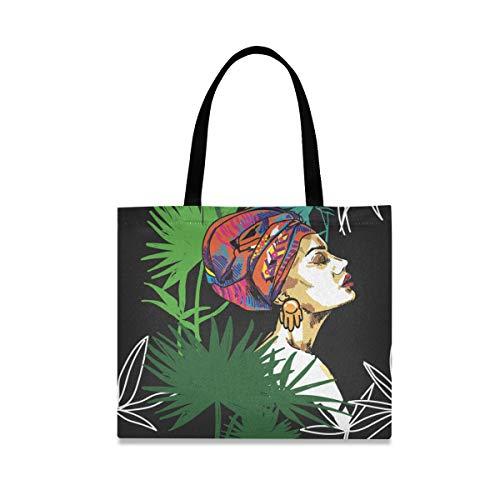 Tropische Pflanzen Afrikanische Mädchen Canvas Tote Bag für Frauen Große wiederverwendbare Lebensmitteltaschen mit Innentasche Einkaufstasche für Gym Strand Reisen Outdoor