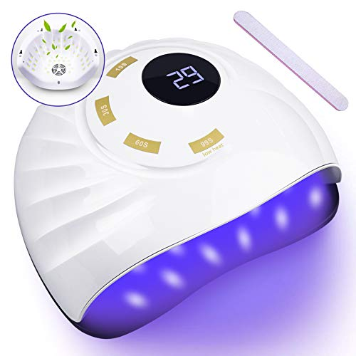 UV LED Nail Lamp, UPGRADE 90W Nail Dryer with Fan to Relieve Burns, Fast Dry Gel Polish Lamp Professional Curing Light for Fingernail and Toenail Auto Sensor Nail Machine