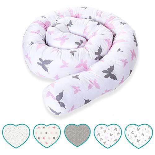 mimaDu® Bettschlange Nestchen Babybett Schlange (210 x10 cm) Bettumrandung für Baby- und Kinderbett - OEKO-TEX zertifizierte Baumwolle - (grau-rosa Schmetterling)