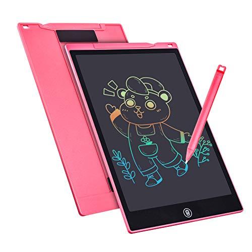 Tableta de Escritura Color LCD 12 Pulgadas, Tablet Escritura Pantalla Colorido Infantil, Tableta Grafica Dibujo Niños Adecuada para el Hogar, Escuela, Oficina, Cuaderno de Notas con Fundas (Pink)