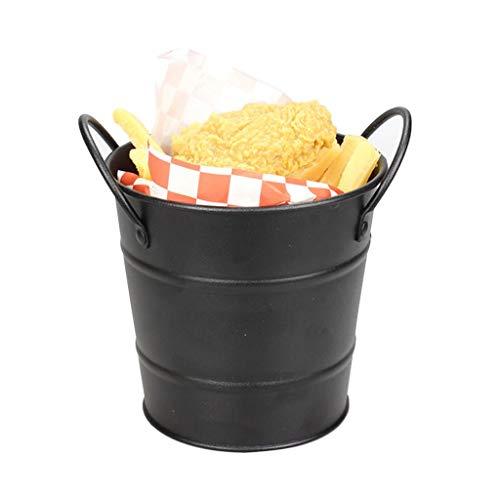 Mini tennhandtag pommes frites liten hink bar party grill is kub hink hushållsdrink öl is hink skrivbord blomma kruka för drycker och fester (Color : Black)