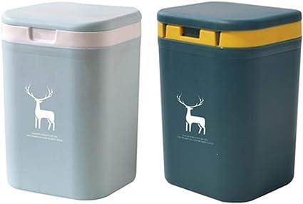Dubbele Afvalbak Voor Keuken 2x2l Kleine Plastic Bak Voor Thuis Tafelbak Met Deksel Voor Slaapkamer En Badkamer 2 Pack Lichtblauw Donkerblauw Amazon Nl
