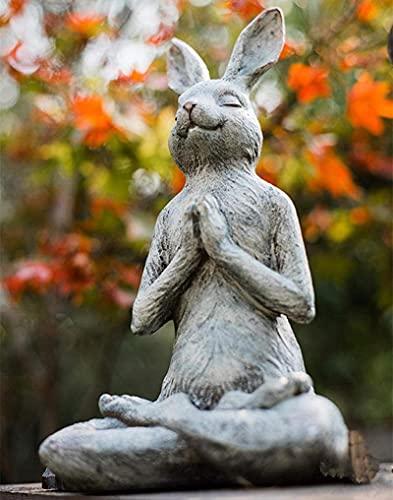 Esculturas Estatuas Ornamentos Figurina Estatuillas Coleccionables Resina Escultura Yoga Conejo Moderno Home Jardín Decoración Artesanía Sala de Estar Decoración Estatua