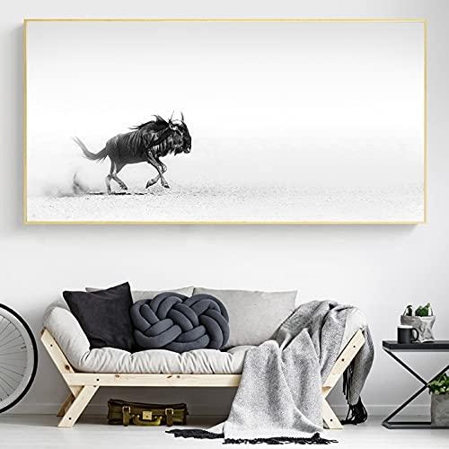 Póster minimalista de ñu con animales, póster de pintura en lienzo e impresiones, imágenes artísticas de pared para la decoración del hogar de la sala de estar 35x70 CM (sin marco)