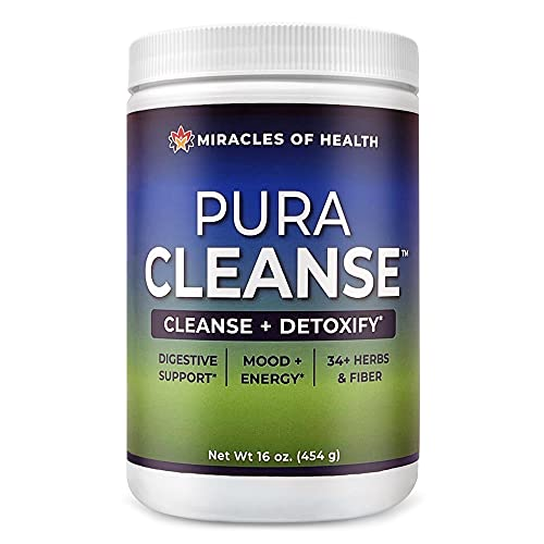 Miracles of Health Pura Cleanse - The Original & Authentic Formula | 100% Natural Super Herb & Fiber Drink for a Healthy Gut | Detox and Cleanse The Colon, Skin, Lungs and Kidneys