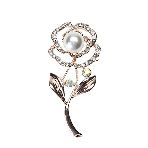 Demiawaking Elegant Diamante Brooches for Women, Ladies Flower Crystal Brooch Pins with Pearls Women Corsage Wedding Bouquet Decor