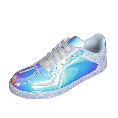 Damen Schnürhalbschuhe Blendend Glitter Frauen Sportlicher Schnürer Sneaker Businessschuh(Weiß/White,40)