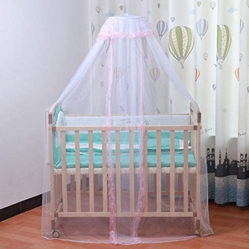 NO LOGO X-Baofu, Babybett Moskitonetz mit Spitze Faltbares und atmungsaktives Mesh-Netz mit Royal Court Style Baldachin for Krippen (Farbe : Pink lace, Größe : 160x450CM)
