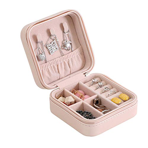 KDABJD Organizador de joyería de Viaje, Almacenamiento portátil con Cremallera, Embalaje de joyería, Vitrina, joyero, ataúd, Soporte para Pendientes, Anillo, Caja de Regalo
