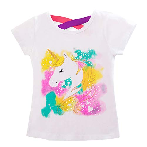 TTYAOVO T-Shirt in Cotone con Unicorno, T-Shirt Manica Corta per Bambini T-Shirt con Stampa Unicorno Carino 5-6 Anni Bianco