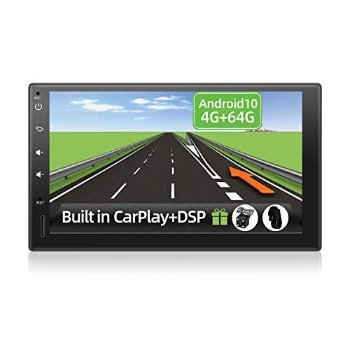 YUNTX Android 10 Autoradio - [4G+64G] - [Integrado CarPlay/Android Auto/DSP/GPS] - Octa Core - 4-LED Cámara Trasera Gratis&Mic - Soporte Dab+/Control del Volante/MirrorLink/4G/WiFi/BT 5.0/360°Cámara