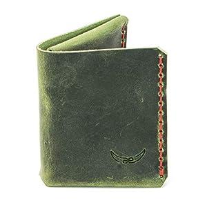 grüner mini Männer Leder Geldbeutel, metallfrei