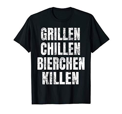 Grillen Chillen Bierchen Killen Lustiges Bier BBQ Grill T-Shirt