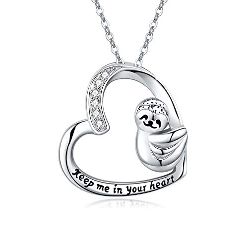 Sloth Gifts for Women 925 Sterling Silver Smile Sloth Cute Animal Heart Pendant Necklace Jewellery Birthday Mother's Day Gifts for Girls kids