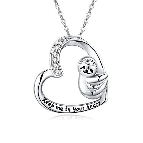 Colgante de perezoso de plata de ley 925, diseño de perezoso con forma de corazón, regalo de cumpleaños o día de la madre para niñas y niños