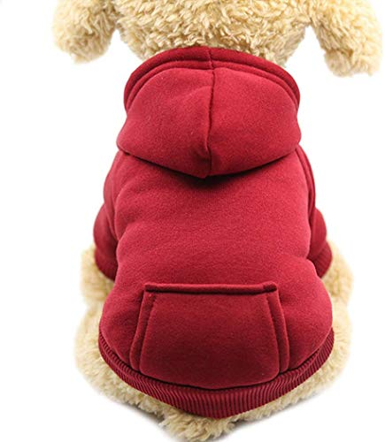 Idepet Dog Clothes Pet Dog Hoodies for Small Dogs Vest Chihuahua Clothes Warm Coat Jacket Autumn Puppy Outfits Cats Dogs Clothing (XS, WineRed)