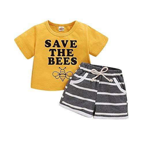 JoJody - Conjunto de ropa para bebé o niño, algodón, manga corta, diseño de letra con cuello redondo y pantalones cortos de verano para niños de 3 a 24 meses amarillo 6-12 Meses