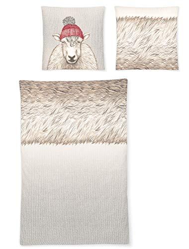 Irisette Biber Bettwäsche Dublin Schaf mit Mütze 1 Bettbezug 135 x 200 cm + 1 Kissenbezug 80 x 80 cm