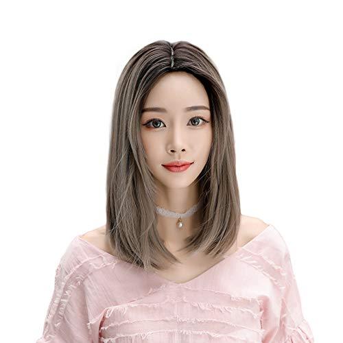 FRTG Peluca de Longitud Media sintética de la Peluca del Color de la Pendiente de la Peluca de la Onda Natural del Pelo Resistente al Calor de la Fibra de Las Mujeres