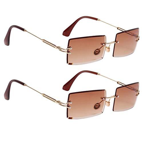 SM SunniMix 2X Gafas de Sol para Mujer Gafas Rectangulares Transparentes Gafas Modernas Protección UV Café