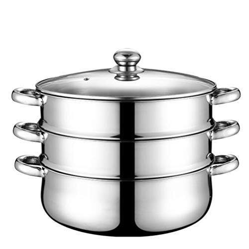 Hemoton Kochtöpfe Dampfkocher Dampfgarer Edelstahl Kochgeschirr Suppentopf Nudeln/Dampfgarer Dreischichtig,32cm