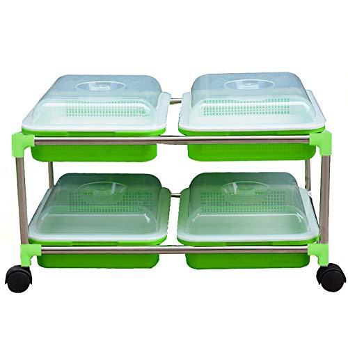 QQSS Keimschalen für Sprossen mit Superfestem Edelstahlregal Bodenfreie Saatgutzüchter und Lagerschalen für die Gartenhausküche