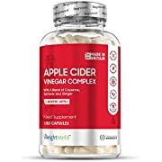 High Strength Apple Cider Vinegar Capsules - 1000mg Servings (3 Month Supply) with Turmeric & Ginger Diet Pills, Weight Targeting for Men & Women, Heart Health, Vegan & Keto Formula - 180 Capsules