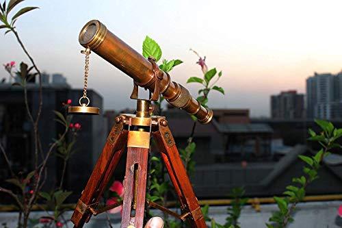india .nautical .handicraft Vintage Antique - Telescopio decorativo de latón con trípode ajustable A