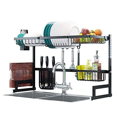 Drenadores de platos sobre el bastidor de secado del plato del fregadero, la rejilla de secado del plato del fregadero, el diseño ajustable y duradero, la parte inferior antideslizante, puede guardar