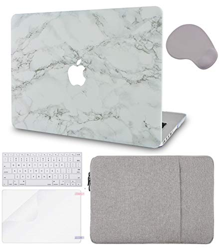 LuvCase 5in1 LaptopCase for MacBook Air 13 Inch(2018-2020) A1932 Retina Display (Touch ID)HardShellCover, Sleeve, Mouse Pad, Keyboard Cover and Screen Protector(White Marble Gold Stripes)