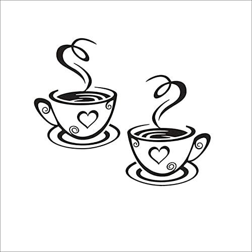 Petrichori 31 * 19 cm Tazas de café Dobles Fuertes Pegatinas de Pared Hermoso diseño decoración de la habitación Vinilo Arte Pegatinas de Pared decoración de la Cocina del hogar
